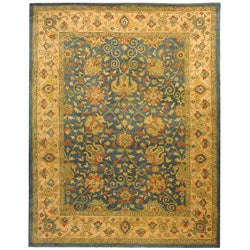 Safavieh Handmade Antiquities Mashad Blue/ Ivory Wool Rug (6' x 9')