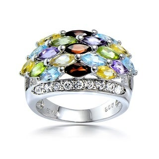 Glitzy Rocks Sterling Silver Multi-gemstone and CZ Ring