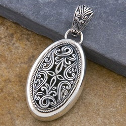 Sterling Silver 'Cawi Carving' Pendant (Indonesia)