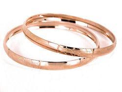 14k Rose Goldfill Bangle Bracelet Set (Mexico)