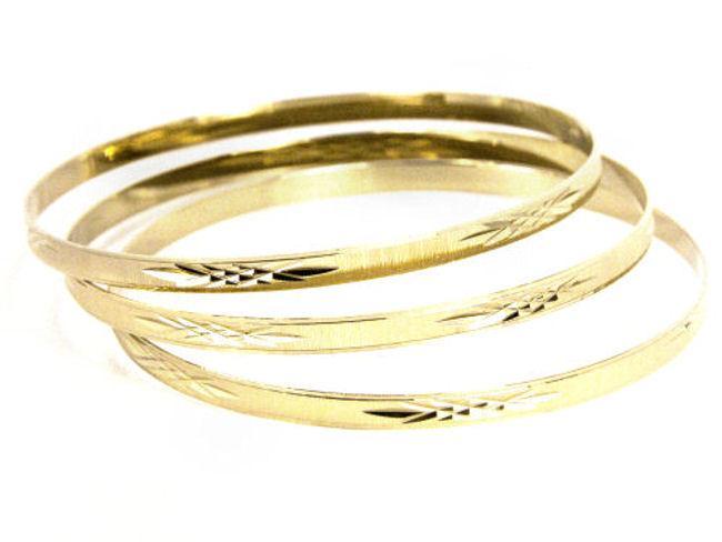 14k Goldfill Diamond Cut Bangle Bracelet Set (Mexico)