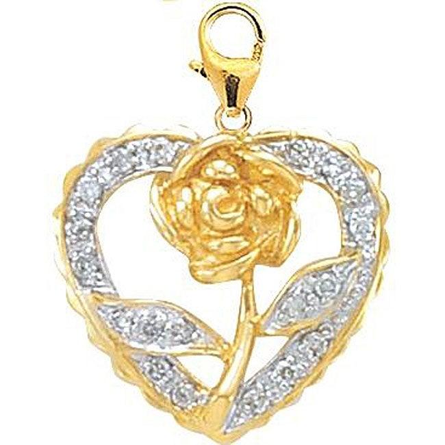 14k Yellow Gold Diamond Rose in Heart Charm