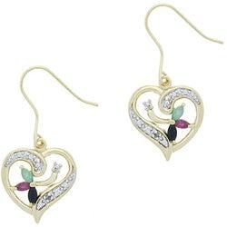 Glitzy Rocks Sterling Silver 18k Gold and Gemstone Heart Earrings