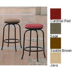 International Caravan Round Seat Iron and Micro Suede Swivel Bar Stool (Set of 2)