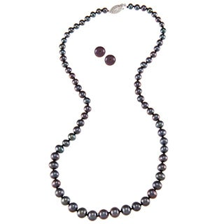 DaVonna Silver Black FW Pearl Graduated Necklace and Earrings Set (4-8 mm)