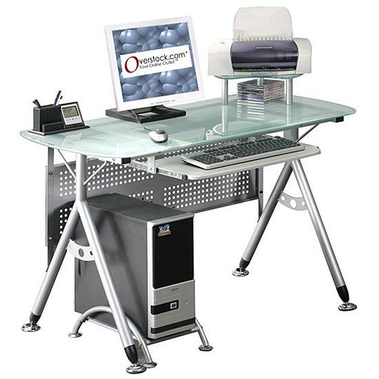 Ergonomic Tempered Glass Top Computer Desk Overstock Shopping Great Deals On Desks