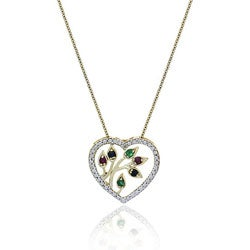 Glitzy Rocks 18k Gold Overlay Multi-gemstone and Diamond Necklace