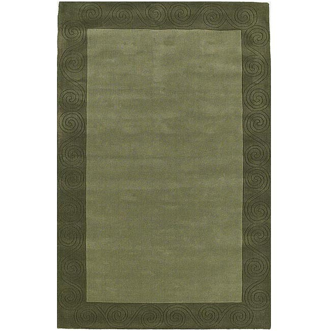 Hand-tufted Green Carving Wool Rug (5' x 8')