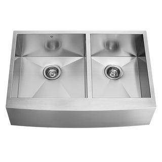 VIGO 36-inch Scratch Resistant Farmhouse Stainless Steel 16 Gauge Double Bowl Kitchen Sink