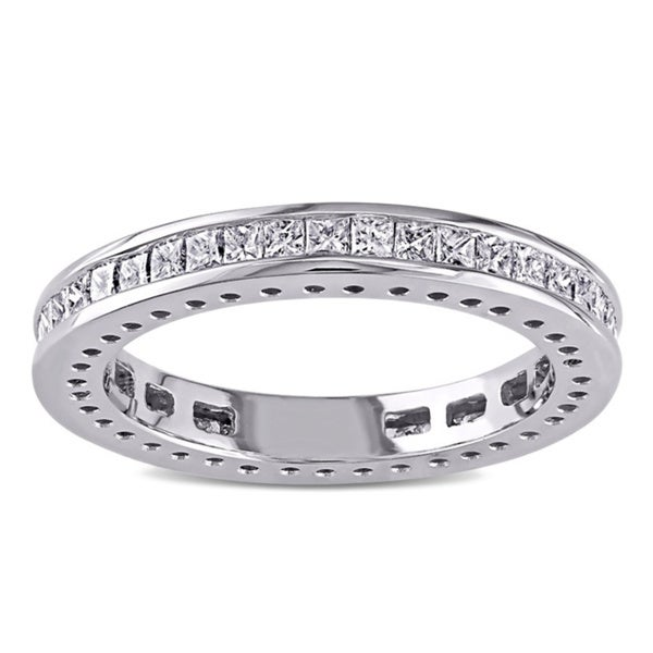 Miadora 14k White Gold 1ct TDW Princess Cut Diamond Band (G-H, I1-I2)