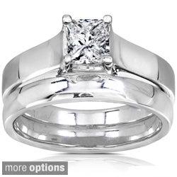 Annello 14k Gold 5/8ct Princess Diamond Bridal Set (GH, I1-I2) with Bonus Item