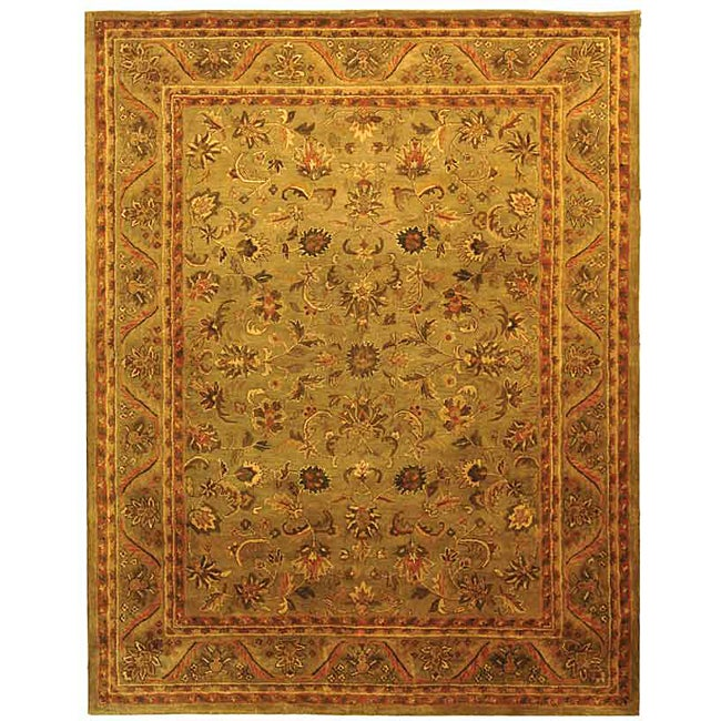 Safavieh Handmade Antiquities Kasadan Olive Green Wool Rug (7'6 x 9'6)