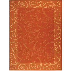 Safavieh Indoor/ Outdoor Oasis Terracotta/ Natural Rug (7'10' x 11')