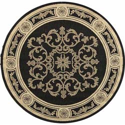 Safavieh Indoor/ Outdoor Sunny Black/ Sand Rug (5'3 Round)