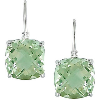 Miadora 10k White Gold Green Amethyst and Diamond Accent Earrings