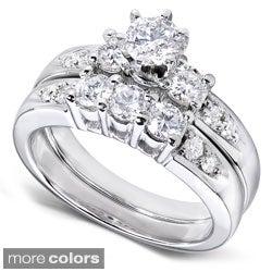 Annello 14k Gold 1 1/4ct TDW Diamond Bridal Ring Set (H-I, I1-I2) with Bonus Item