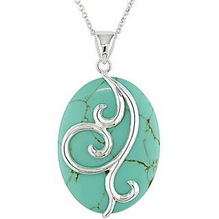 M by Miadora Sterling Silver Oval Turquoise Necklace