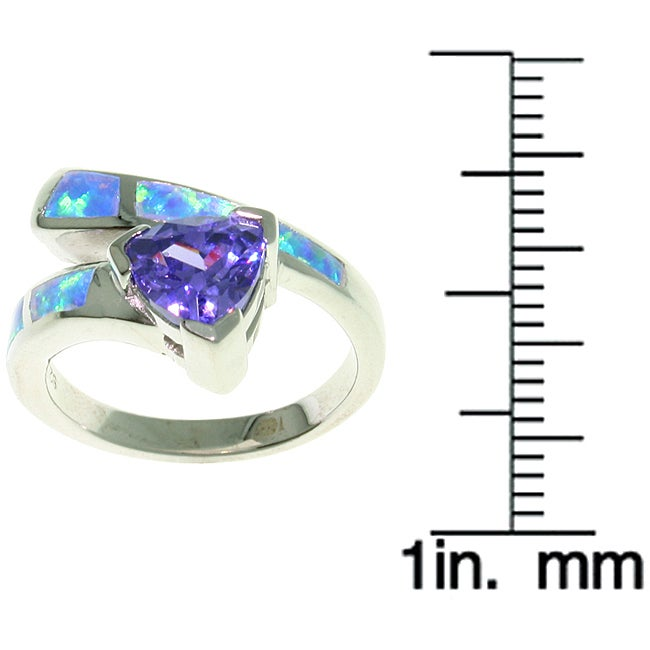 CGC Sterling Silver Opal and Purple CZ Glamorous Ring