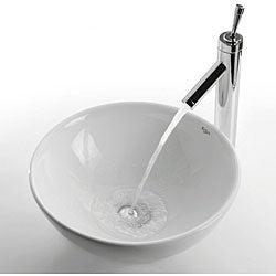 Kraus Round White Ceramic Vessel Sink