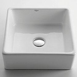 Kraus White Square Ceramic Vessel Sink