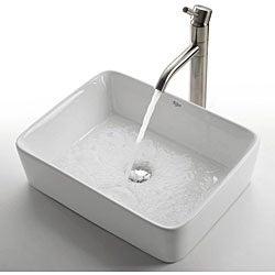Kraus White Rectangular Ceramic Vessel Sink