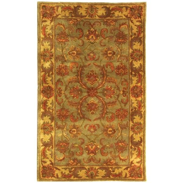 Safavieh Handmade Heritage Kermansha Green/ Gold Wool Rug (3' x 5')