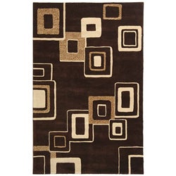 Safavieh Handmade Soho Gala Brown/ Beige New Zealand Wool Rug (7'6 x 9'6)