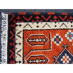 Indo Kazak Hand-knotted Rust/ Ivory Rug (2' x 3')