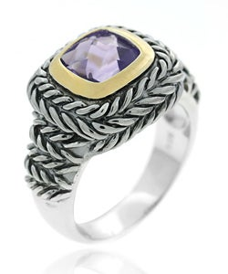 Glitzy Rocks Sterling Silver Amethyst Rope Design Ring