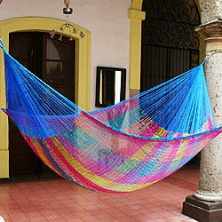 Hand-woven Large Deluxe Rainbow Seascape Hammock (Mexico)