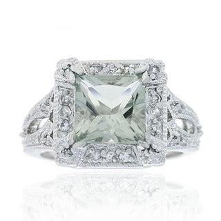 Glitzy Rocks 2 1/6ct TGW Silver Light Green Amethyst and Cubic Zirconia Ring