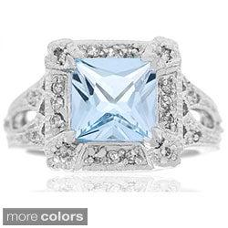 Glitzy Rocks Sterling Silver Gemstone and CZ Ring