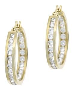 Icz Stonez 18k Gold overlay Cubic Zirconia Hoop Earrings