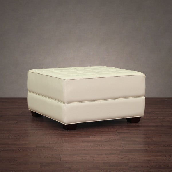 Button-tufted Creme Leather Ottoman