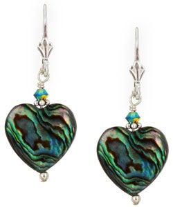 Charming Life Sterling Silver Paua Abalone Shell Heart Earrings