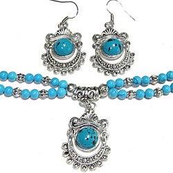 Silver Tibetan Style Turquoise Bracelet/ Earring Set (China)