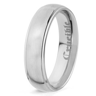 Grooved Brushed and Polished Titanium Ring