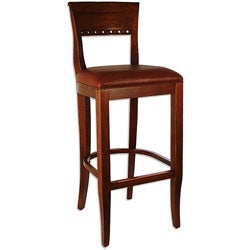 Biedermier Brown Seat Medium Oak Barstool