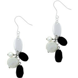 Glitzy Rocks Sterling Silver Onyx and FW Pearl Cluster Earrings