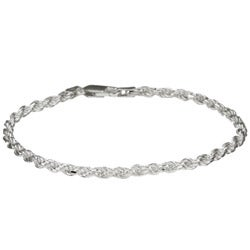 Sterling Essentials Sterling Silver 7-inch Diamond-Cut Rope Chain Bracelet (2.5mm)