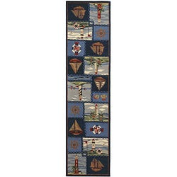 Safavieh Hand-hooked Nautical Blue Wool Runner (2' 6 x 10')