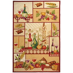 Safavieh Hand-hooked Wine and Fruit Multicolor Wool Rug (8'9 x 11'9)