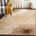 Safavieh Handmade Soho Burst Beige New Zealand Wool Shag Rug (3'6 x 5'6)