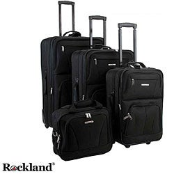 Rockland 4-piece Black Expandable Luggage Set