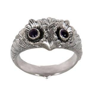 Sterling Silver 'Owl Wisdom' Amethyst Ring (Indonesia)