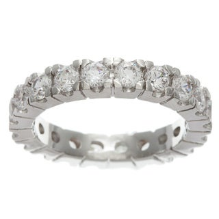 Simon Frank Hand Set Bright White Stackable Cubic Zirconia Eternity Band