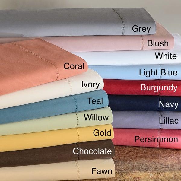 Hemstitch 400 Thread Count Sateen Cotton Sheet Set