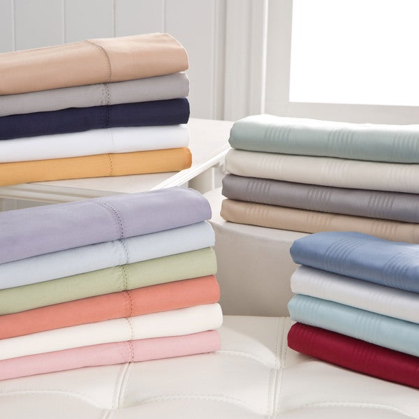 Hemstitch 400 Thread Count Sateen Solid and Striped Cotton Sheet Set