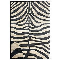 Hand-woven Zebra Bamboo Rug (5' x 8')