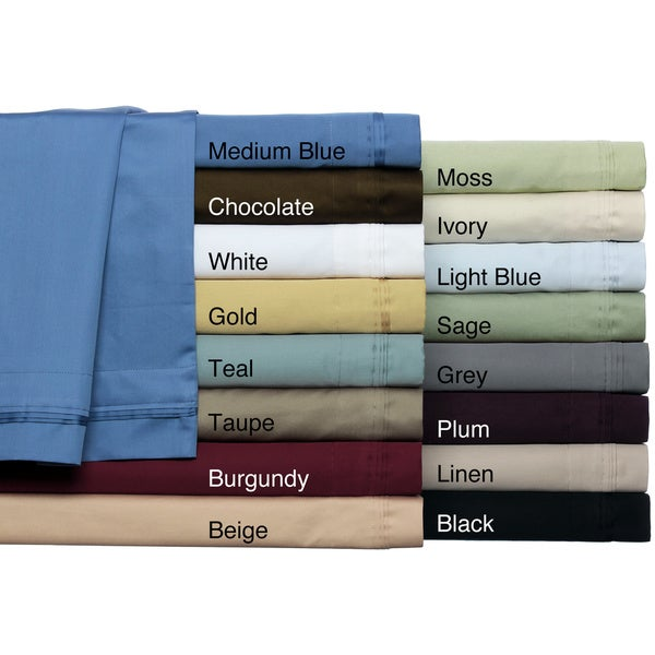 Luxor Treasures Egyptian Cotton 650 Thread Count Deep Pocket Solid Sheet Set
